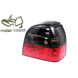 VW Golf 3 clearglass  Red / Black Czerwono - Czarne  LTVW41