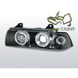 BMW E36 COUPE  CABRIO clearglass BLACK Angel Eyes + ringi BM04