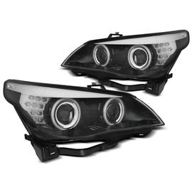 BMW E60 / E61 03-07 BLACK Angel Eyes CCFL + kierunkowskaz LED LPBMH9