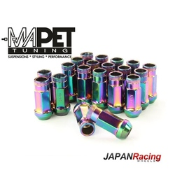 NAKRĘTKI KUTE JAPAN RACING do felg z wąskimi otworami M12x1,25 - LONG NEON