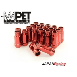 NAKRĘTKI KUTE JAPAN RACING do felg z wąskimi otworami M12x1,25 - LONG RED