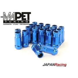 NAKRĘTKI KUTE JAPAN RACING do felg z wąskimi otworami M12x1,25 - LONG BLUE