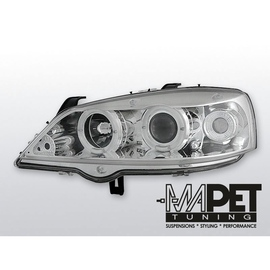 Opel Astra G clear CHROM Angel Eyes soczewka ringi LPOP12