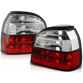 VW Golf 3 clearglass Red / White Czerwono - Białe LTVW53