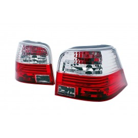 VW Golf 4 clearglass RED WHITE - czerwono / białe LTVW03 DEPO
