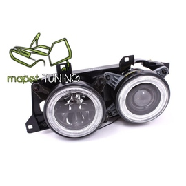 BMW E32 clear Angel Eyes z soczewką BLACK - czarne + ringi FK