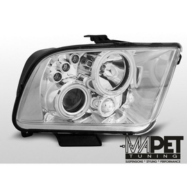 Ford Mustang 05-09 clear Angel Eyes CHROM soczewka ringi LPFO30