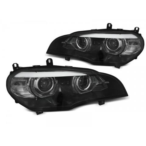 Lampy BMW X5 E70 07-10 Xenon BLACK diodowe LED DRL dzienne  LPBMJ8