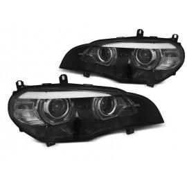Lampy BMW X5 E70 07-10 Xenon AFS BLACK diodowe LED DRL dzienne LPBMK0