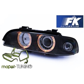 BMW E39 BLACK clearglass Angel Eyes D2S + ringi LPBM92 FK