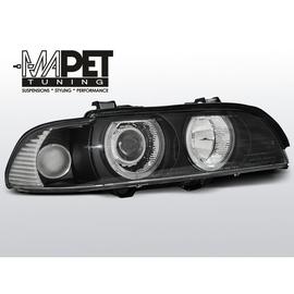 BMW E39 BLACK clearglass Angel Eyes D2S + ringi LPBM07